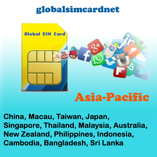GSC-AS1: China/Asia1 -Pacific Travelling Internet LTE Global SIM Card 2-5GB/7-30 Days