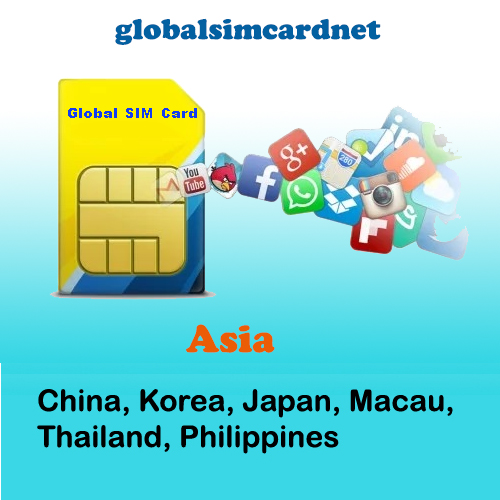 GSC-AS2: China/Korea/Asia2 Travelling Internet LTE Global SIM Card 2-5GB/7-30 Days - Click Image to Close